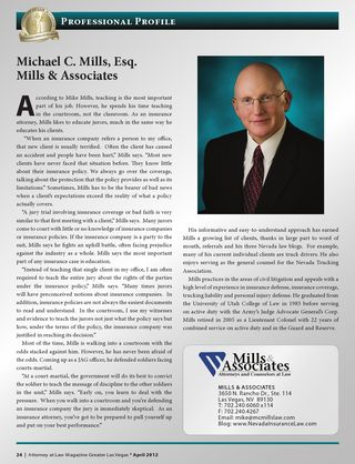 Mike Mills in Attorney at Law Magazone